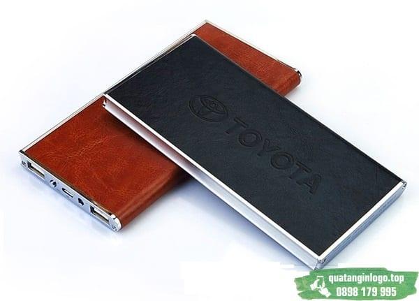 Pin Sạc Dự Phòng vỏ Da in logo làm quà tặng khách hàng quảng cáo thương hiệu Doanh nghiêpj