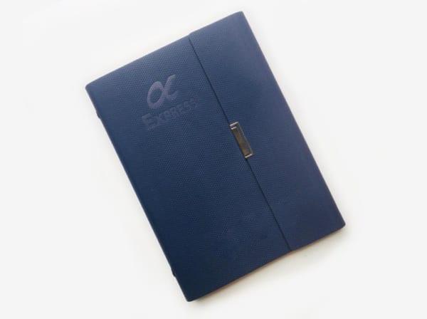 SCT 10 So tay in logo so da PU xanh dam cong 6 lo dap logo lam qua tang quang cao thuong hieu cong ty (6)