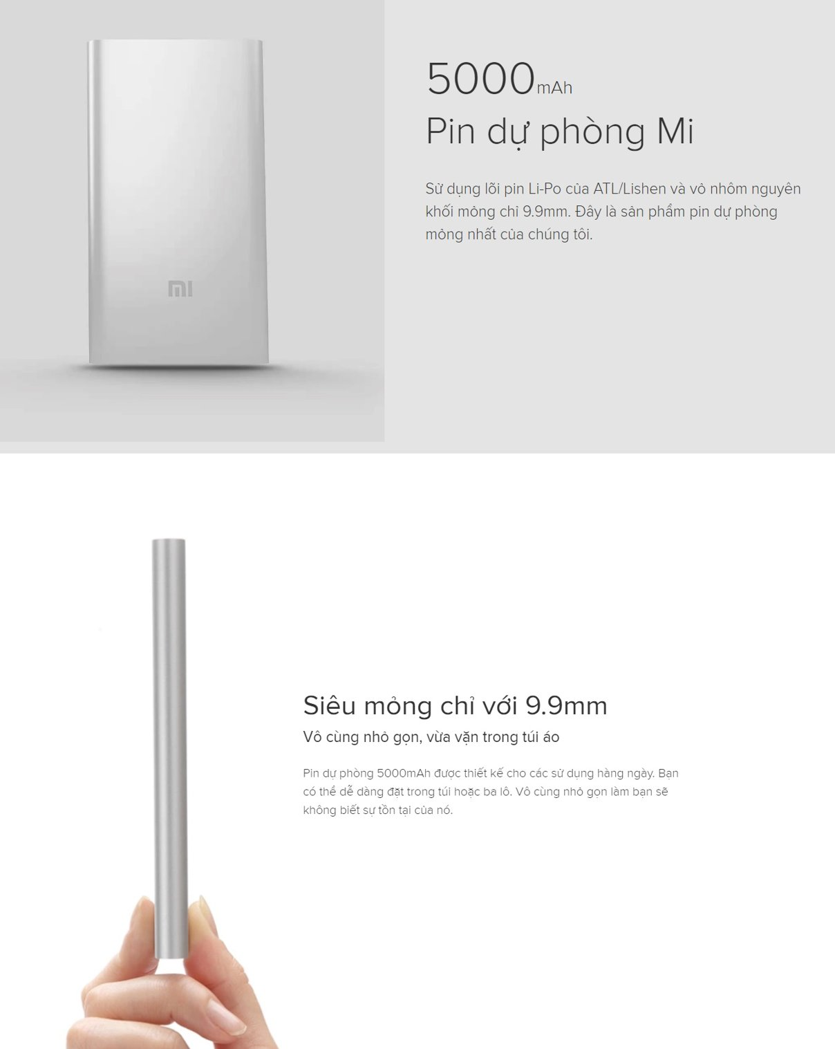 MI2 Xiaomi 5000mAh GLOBAL BAC SILVER VXN4236GL Pin sac du phong in logo qua tang khach hang
