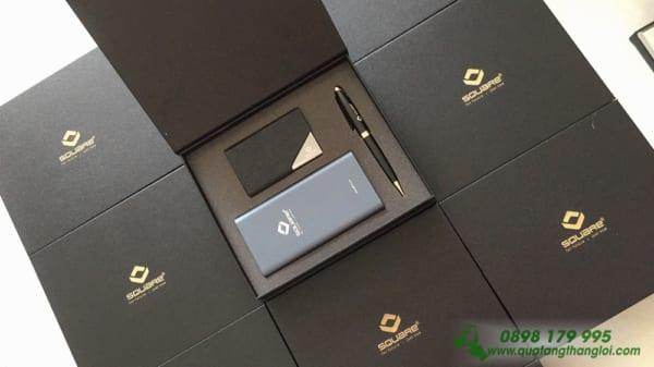 Bộ Giftset khắc logo Doanh nghiệp làm quà tặng (Pin Xiaomi gen3+Bút Kim Loại+Hộp Đựng Namecard)