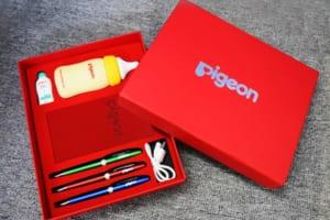 GST 12 – Giftset – Bộ Quà Tặng 4in1 (Pin sạc đúc khuôn + USB đúc khuôn + Bút bi + Sổ note) in logo Pigeon làm quà tặng tri ân khách hàng quảng cáo thương hiệu sản phẩm