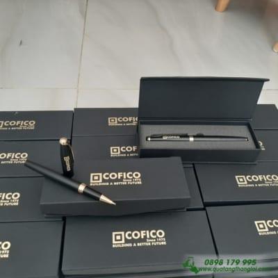 Bút Kim Lọai nắp mở khoen vàng khắc logo COFICO làm quà tặng Nhân Viên