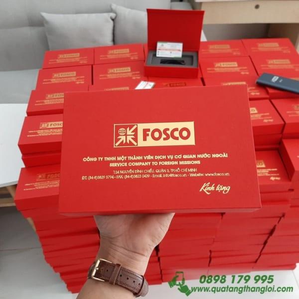 Hộp Nam Châm Đựng Pin Sạc ép kim Vàng logo FOSCO