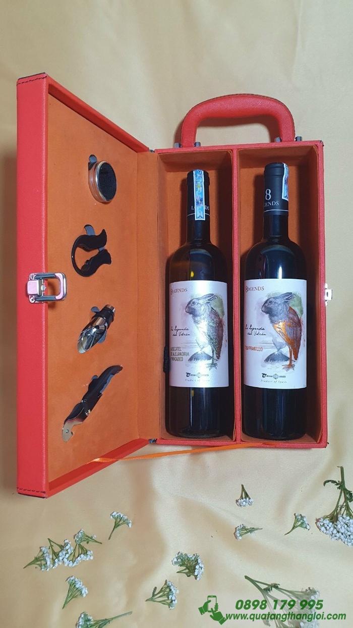 Hộp Da Đựng Rượu in logo theo yêu cầu Doanh nghiep